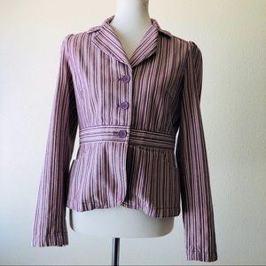 Ann Taylor Loft Striped Purple Cotton Blazer 4